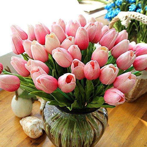 Lorigun 10 Cabezas Tulipanes Artificiales Toque Real Tulipanes de la PU Arreglo de Flores Ramo Sala de hogar Oficina Centro de Mesa Fiesta Decoración de la Boda Rosa