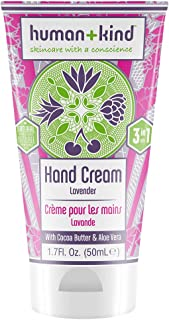 Human+Kind Hand Cream | Nourishes and Hydrates Hands, Elbows, and Feet | Enriched with Moisturizing Avocado Oil and Shea Butter | Natural, Vegan Skin Care | Lavender Scent - 1.7 fl oz