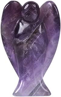 Carved Amethyst Gemstone Peace Angel Pocket Guardian AngelHealing Statue 2 inch