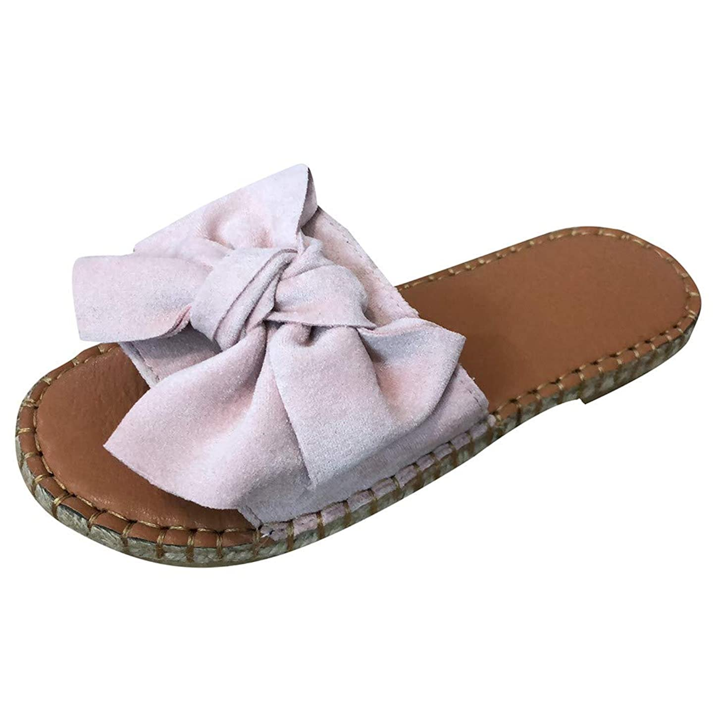 Women Fashion Big Bowknot Espadrilles Flat Sandals Solid Open Toe Casual Beach Walk Slippers Shoes JHKUNO