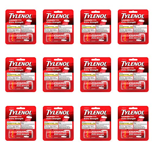 Tylenol Extra Strength Caplets with 500 mg Acetaminophen, Pain Reliever & Fever Reducer, 10 ct (Pack of 12)