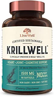 KrillWell Heart, Joint, and Cognitive Support | Certified Sustainable, Clinically-Proven K-Real Krill Oil 2X More Effectiv...