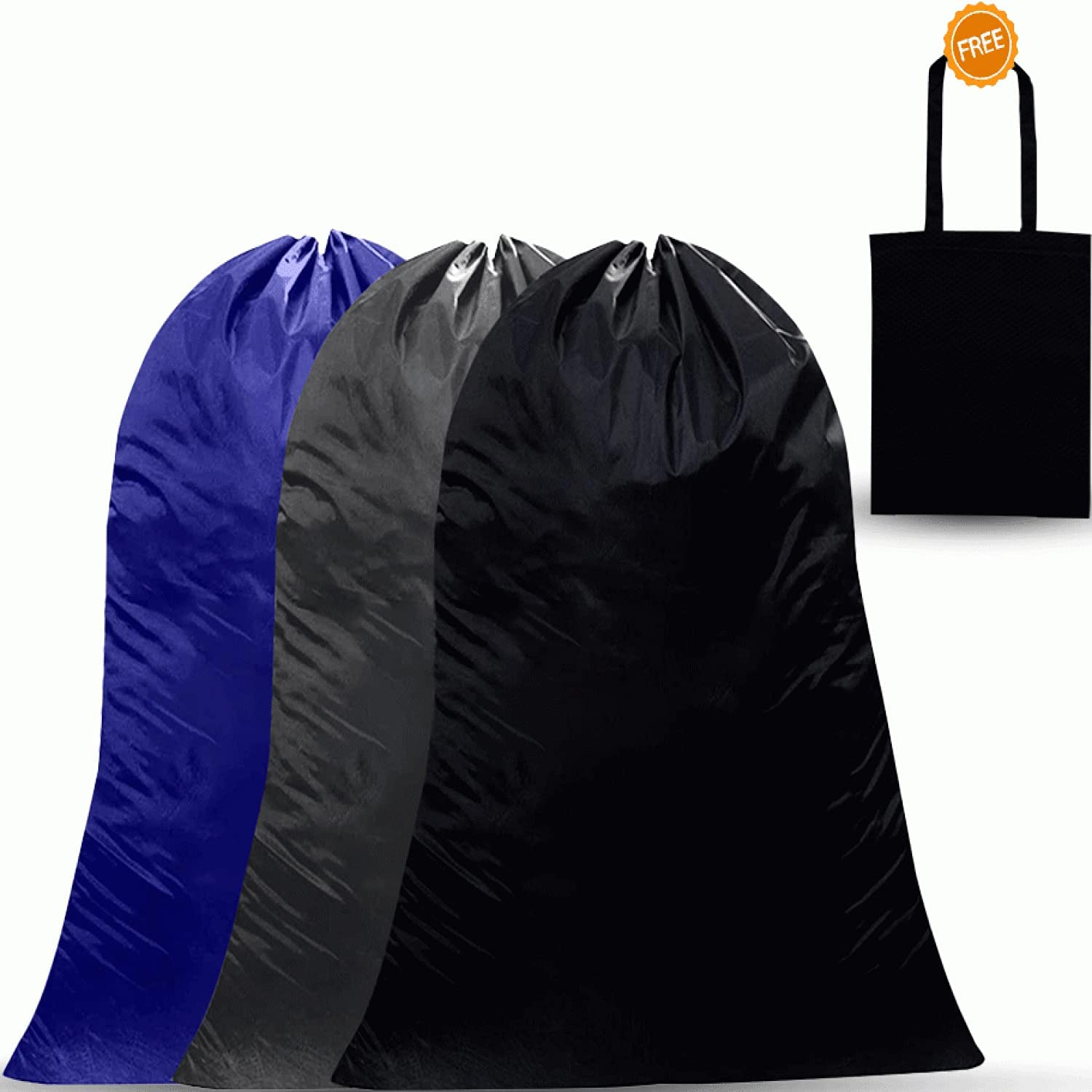 Dino74 3 Pack Heavy Duty Laundry Bags - Jumbo Traveling Dorm Room Bags Machine Washable Organizer for Storing Dirty Clothes With Free Reusable Grocery Bag