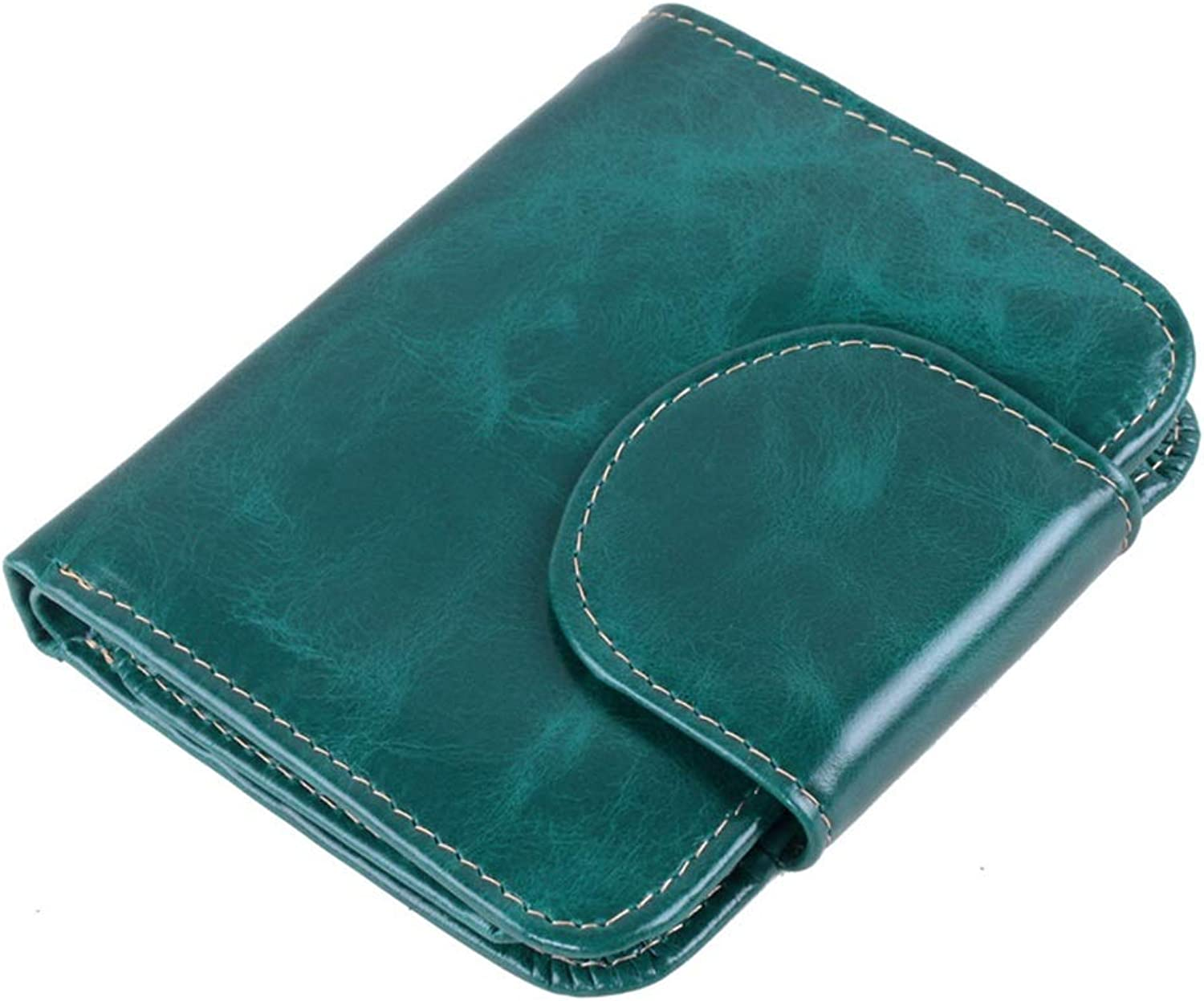 Womens Blocking Large Capacity Wallet Women's Wallet Leather Short Paragraph Retro Buckle Wallet Credit Card Wallet Leather Wallet Leather Clutch Wallet Multi Card Organizer (color   Green)