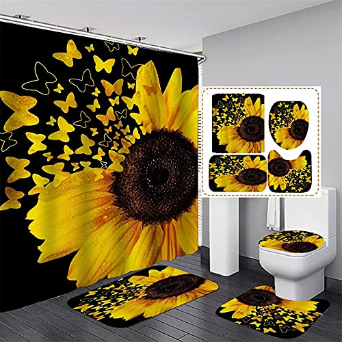 Ybest Shower Curtain Sets with Rugs 4 Piece Butterfly Sunflower Bathroom Sets Decor Accessories Bathroom Curtains Shower Set Include Shower Curtain Non-Slip Rug Toilet Lid Cover Bath Mat and 12 Hooks