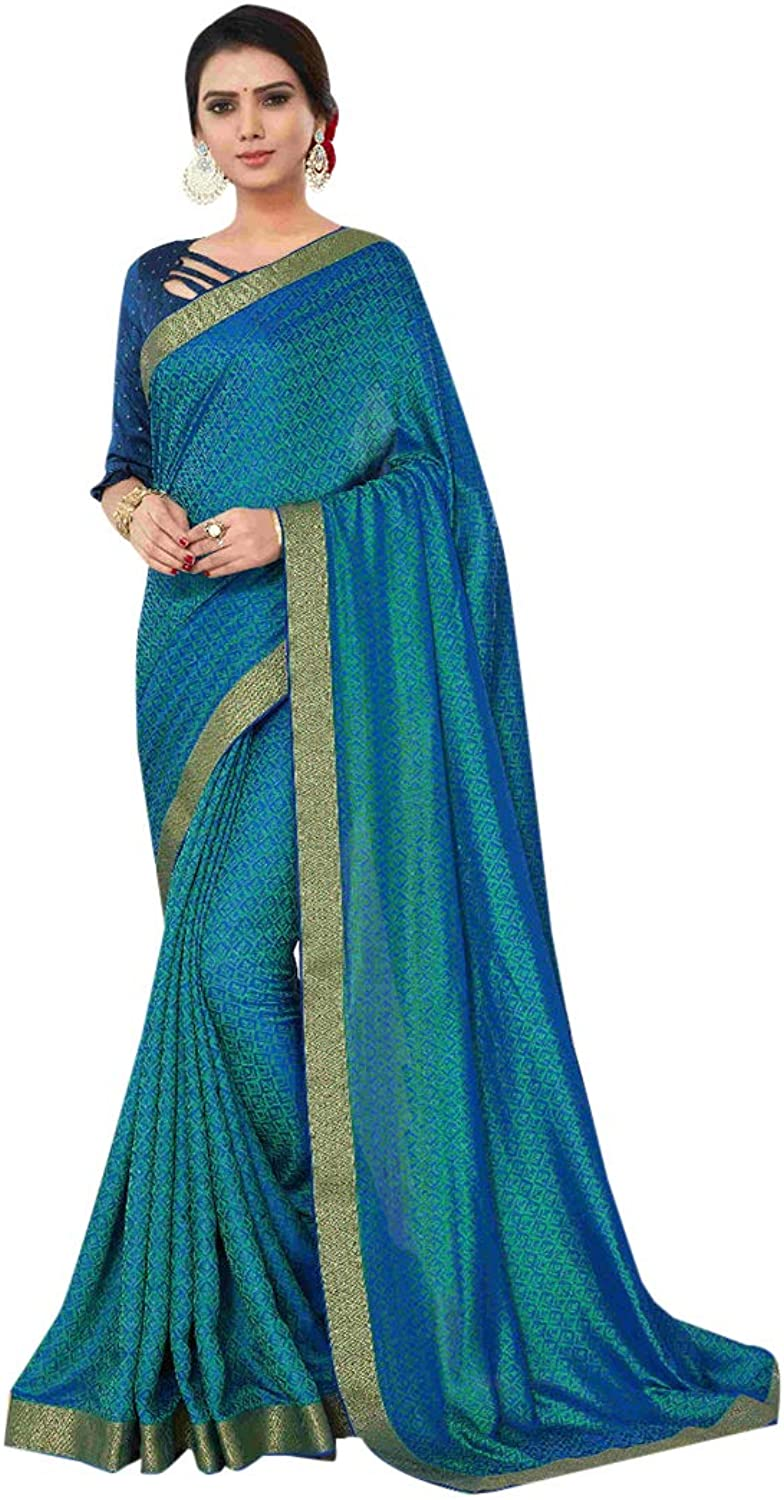 Cerulean Ethnic Designer Brasso Sari with Blouse Indian Stylish Party wear Saree for Women 7734