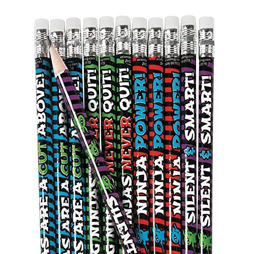 Fun Express Learning Ninja Pencils - 24 Pieces - Educational and Learning Activities for Kids
