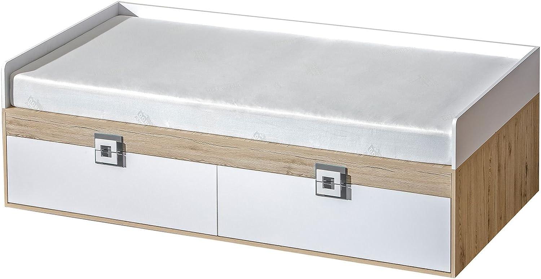 Kinderbett Jugendbett Fabian 14 inkl. Lattenrost, Farbe  Eiche Hellbraun Wei Grau - 90 x 200 cm (L x B)