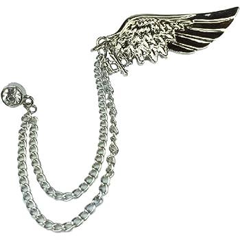 (lilii kupulau) 翼 モチーフ ラペルピン 羽 ブローチ (シルバーカラー)