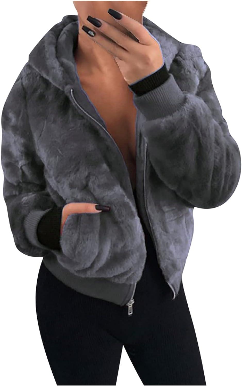 Women's Casual Coat Jacket Warm Faux Shearling Autumn Winter Long Sleeve Lapel Fluffy Fur Outwear