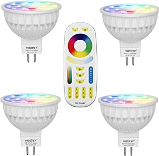 Mi Light MR16 Color Changing LED Spotlight WiFi RGB +CCT 4 Watt 4 Pack + 4-Zone Remote