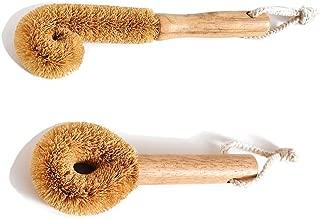 Wodden Cleaning Brush, Bottle Washing Brush, Pan Scrub Brush, Natural Coconut Fiber Brush Head, Sturdy, Deep Cleaning, Eco-Friendly
