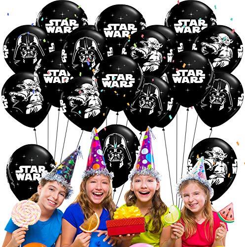 Qemsele Geburtstag Luftballons für Kinder, 50pcs Karikatur Konfetti Luftballons 12 Zoll Latex Ballons mit Bändern Geburtstag Party Dekoration Karneval, Kindergeburtstag (Star War)
