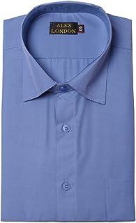 ALEX LONDON Blue Formal Shirt for Men (Solid, Regular Fit)