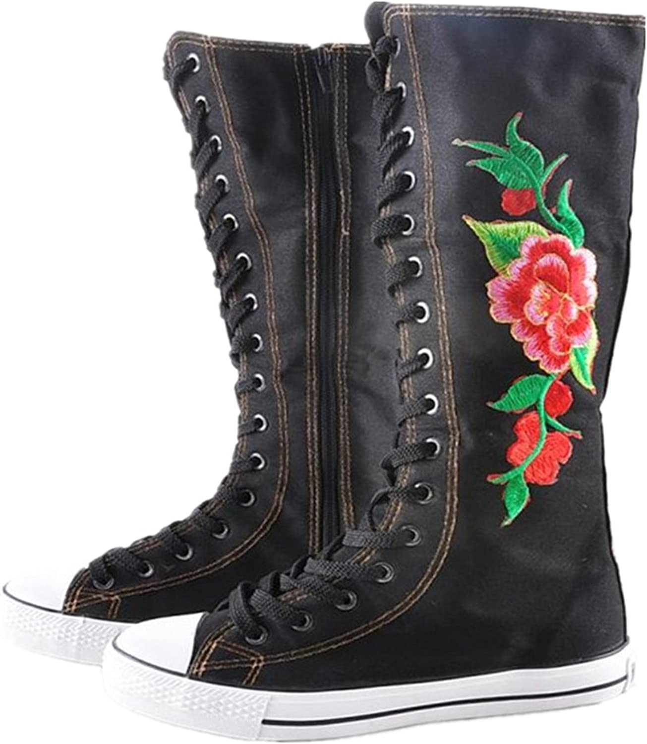 AGoGo Floral Embroidered Women's Dance Sneakers Punk Knee High Lace Ups Canvas Boots