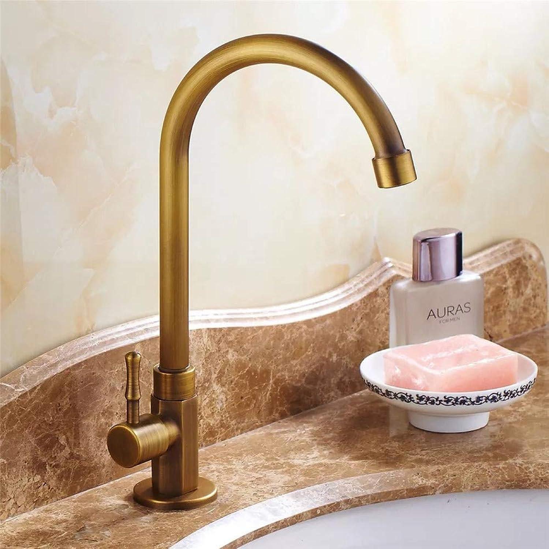 Decorry Copper Antique Faucet Basin Single Cold Faucet Kitchen Hardware Faucet Pure Copper Faucet
