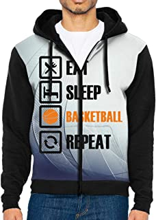 Eat Sleep Basketball Repeat Men's Custom Full-Zip Hoodie Hooded Jacket Coats Pocket