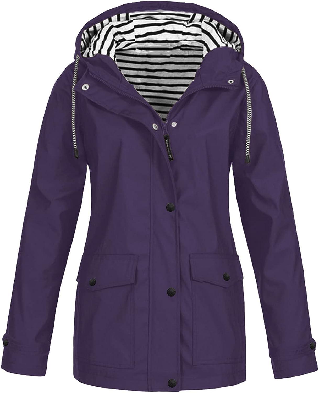 Women's Waterproof Jacket Raincoat Windproof Zipper Hoodies Windbreaker