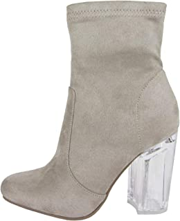Women's Closed Toe Faux Suede Chunky Clear Perspex Heel Ankle Bootie