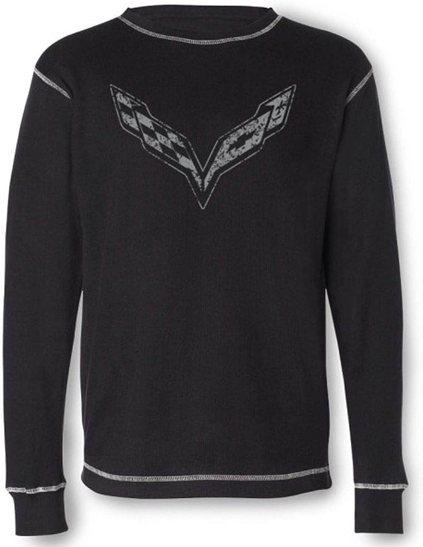 Thermal Shirt Corvette C7 Vintage Look Black Longsleeved
