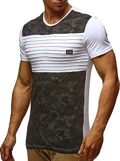 LEIF NELSON Herren Sommer T-Shirt Rundhals-Ausschnitt Slim Fit Baumwolle-Anteil   Moderner Männer T-Shirt Crew Neck Hoodie-Sweatshirt Kurzarm lang   LN405