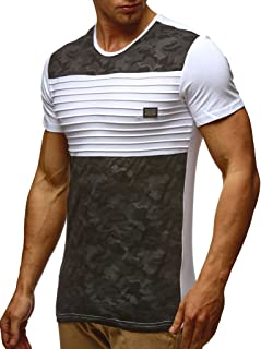 Herren Sommer T-Shirt Rundhals-Ausschnitt Slim Fit Baumwolle-Anteil Moderner Männer T-Shirt Crew Neck Hoodie-Sweatshirt Kurzarm lang LN405