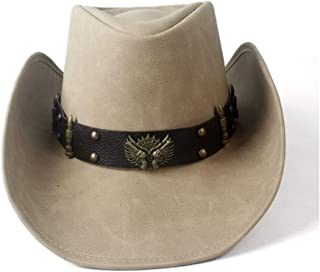 Fashion Hats, Caps,Elegant Hats, Natural Caps Leather Cowboy Hat Women's Men's Leather Western Cowboy Hat Wide Brim Dad Lady Cowgirl Fedora Hat Two Guns Leather Band (Color : Tan, Size : 58-59)