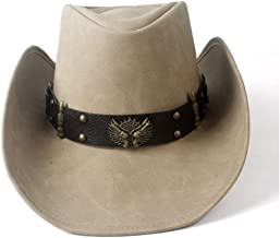 2019 Women Womens Unisex Western Cowboy for Women Cowgirl Fedora Wide Brim Dad Lady Cowgirl Fedora Hat Two Guns Leather Band Outdoor Travel Casual Fashion (Color : Tan, Size : 58-59)
