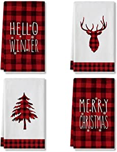 Artoid Mode Tree Elk Hello Winter Merry Christmas Kitchen Towels and Dish Towels, 18 x 28 Inch Red and Black Buffalo Plaid Holiday Ultra Absorbent Drying Cloth Tea Towels for Cooking Baking Set of 4