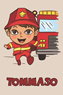 Tommaso: Firefighter Fireman Fire Department Boys Name Tommaso, Lined Journal Composition Notebook, 100 Pages, 6x9, Soft C...