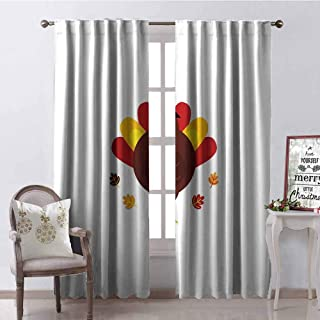 GloriaJohnson Turkey 99% Blackout Curtains Cartoon Style Pilgrim Bird with Hat Fun Animal Character American Tradition for Bedroom Kindergarten Living Room W52 x L63 Inch Maroon Red Yellow