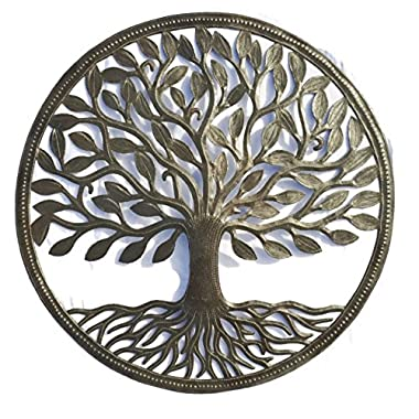 Steel Drum Organic Tree of Life Recycled Metal Art from Haiti, 23  X 23