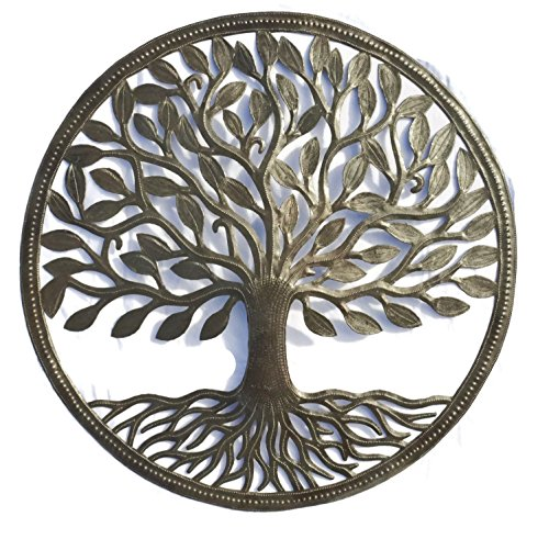Organic Tree of Life Decorative Wall Hanging Artwork, 23 Inch Round Metal Sculpture, Handmade in Haiti from Recycled Steel Barrels, Fair Trade Federation Certified