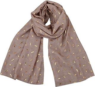 Women Gold Foil Dragonfly Print Long Shawl Pashmina Scarves (Pink)