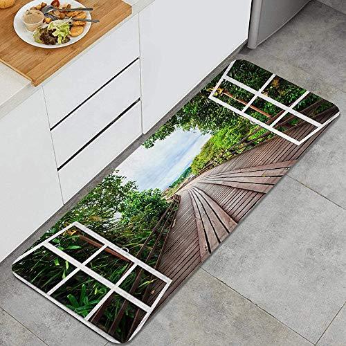 GEEVOSUN Tapis Cuisine Devant Evier Antidérapant Tapis de Sol Absorbant Lavable Board Wood Road à l'extérieur de la fenêtre Pont en Bois à Travers la forêt de bambous menant à la rivière