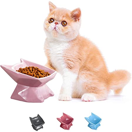 Jemirry Raised Cat Bowl Cat Ear Shape Ceramic Cat Bowl Cat Dish with Tilt Angle for Persian Garfield Chinchilla Kitten-Dark Grey