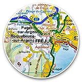 Impresionantes pegatinas de vinilo (juego de 2) 15 cm – Frejus Town Francia mapa de viajes divertido calcomanías para portátiles, tabletas, equipaje, reserva de chatarras, neveras, regalo fresco #45072