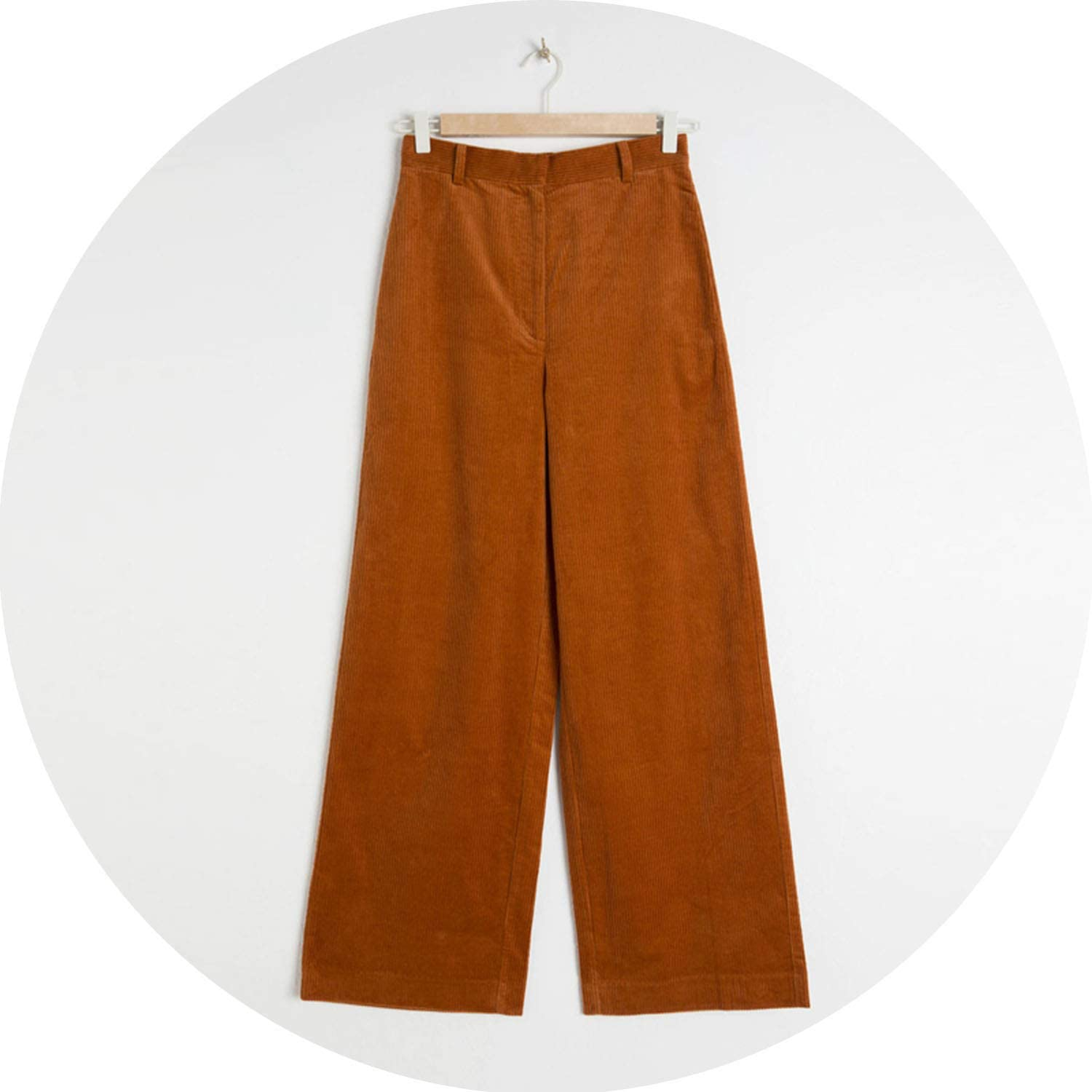 Can't be satisfied Autumn Corduroy Wide Leg Pants Office Trousers Casual Flat Mid Solid Women Pantspants
