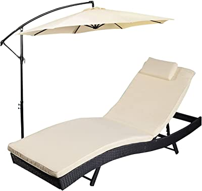 Tangkula Adjustable Pool Chaise Lounge Chair Outdoor Patio Furniture PE Wicker W/Cushion with Umbrella