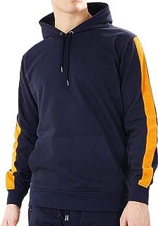 Brave Soul Mens Majestic Long Sleeve Pullover Hoodie - Navy/Orange - S