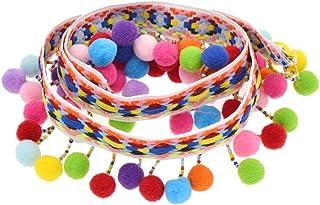 comprar comparacion YNuth 1 Yarda de Encaje de Borlas de Bolas Arco Iris Pompón Trim Cinta Tejida Amplia de Mosaico para Decoración DIY Costur...