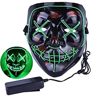LED Light Up Purge Frightening Cosplay Santa Mask for Christmas April Fool's Day Teasing Black Holiday Parties Glow,Costume