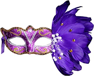 Woman's Christmas New Year Party White Purple Blue Solid Color Painting Feather Masquerade Half-Face Mask