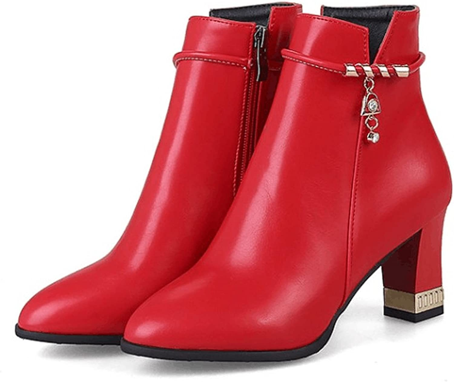 QZUnique Women Elgant High Chunky Heel Pointy Toe Martin Boots Zipper Ankle Booties
