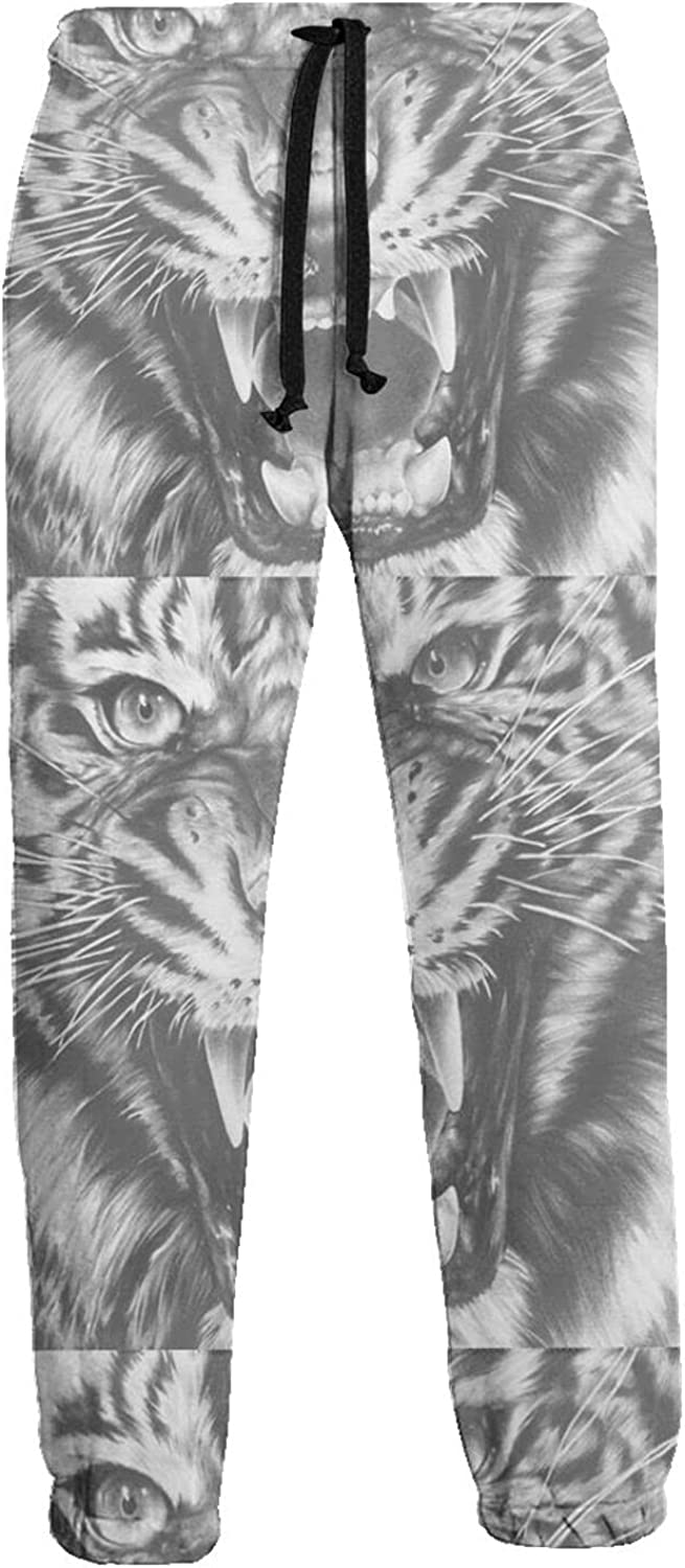 KAWAHATA White Tiger Men's Pants with Pockets Tapered Athletic Sweatpants 3D Casual Active Sports Pants