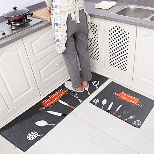 Levoberg - Lote de 2 alfombras de cocina, antideslizantes, absorbentes