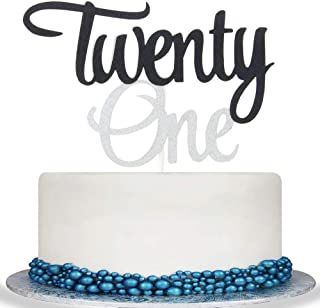 Colorful Twenty One Cake Topper - Cheer to 21 Years Cake Topper -Gold Glitter Hello 21-21th Birthday/Wedding Anniversary Party Decoration