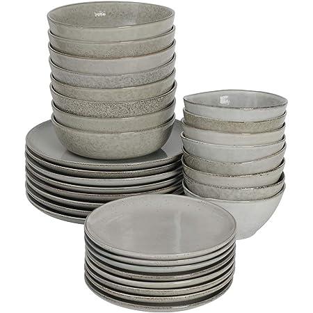 ProCook Oslo Coupe - Service de Table en Grès - 32 Pièces/8 Personnes - Grande Assiette Plate/Assiette à Dessert/Assiette Creuse/Bol - Glaçure Réactive - Gris