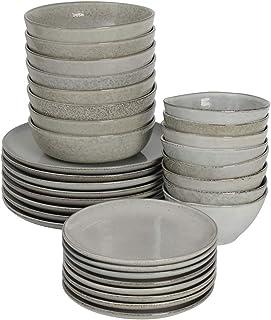 ProCook Oslo Coupe - Service de Table en Grès - 32 Pièces/8 Personnes - Grande Assiette Plate/Assiette à Dessert/Assiette ...