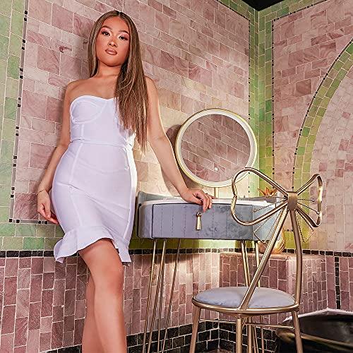 Carme - Set di sgabelli da toeletta in velluto pastello Paradise con sensore touch a LED, colore: Grigio tempesta